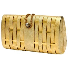 Gold Structured Evening Clutch French Vintage