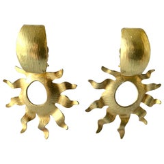Gold Sun Statement Earrings by Herve Van Der Straeten