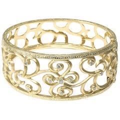 Gold Swirl and Diamond Bangle