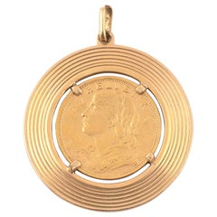 Gold Swiss Coin Pendant