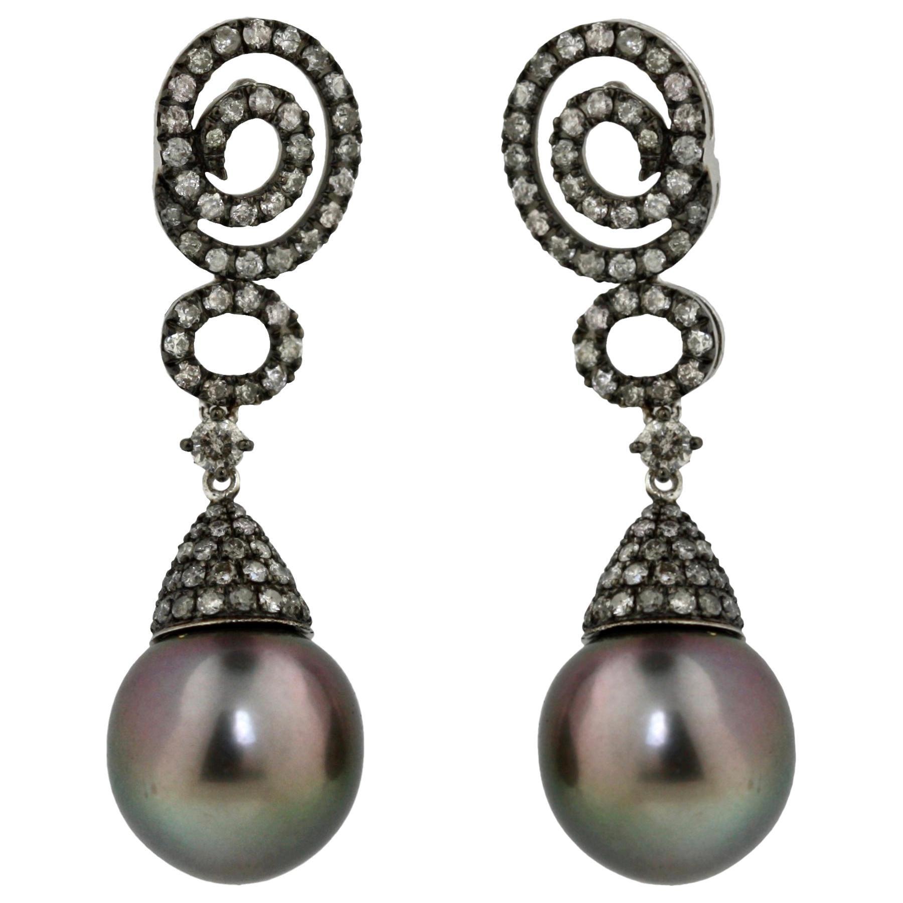 Gold Tahitian Pearl and Diamond Earrings
