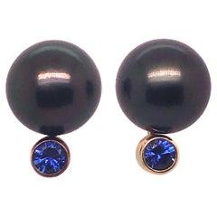 Gold Tahitian Pearl and Sapphire Stud Earrings