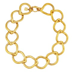 Gold Teardrop Link Chain Choker Necklace By Anne Klein, 1980s