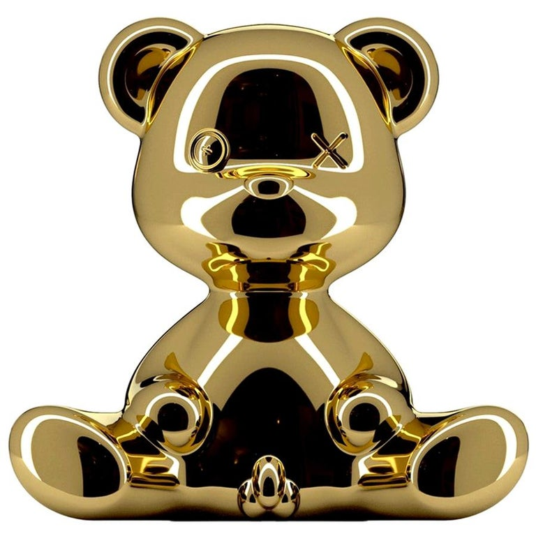 Gold Teddy Boy Lamp with LED with Outlet, Made in Italy, In stock in Los Angeles For Sale
