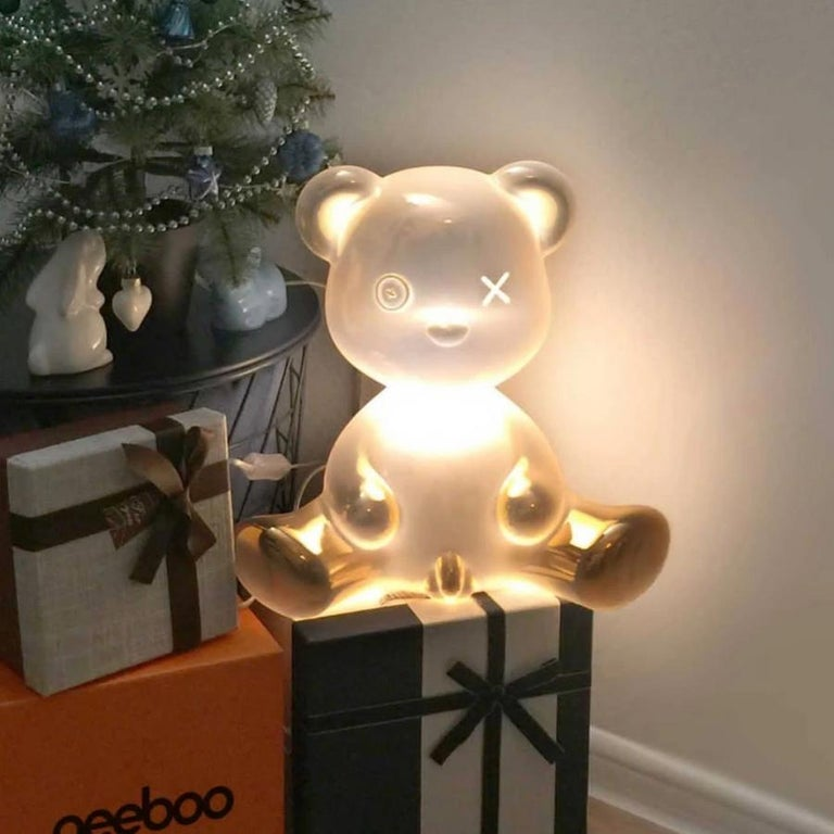 Italian Gold Teddy Boy Lamp with LED with Outlet, Made in Italy, In stock in Los Angeles For Sale