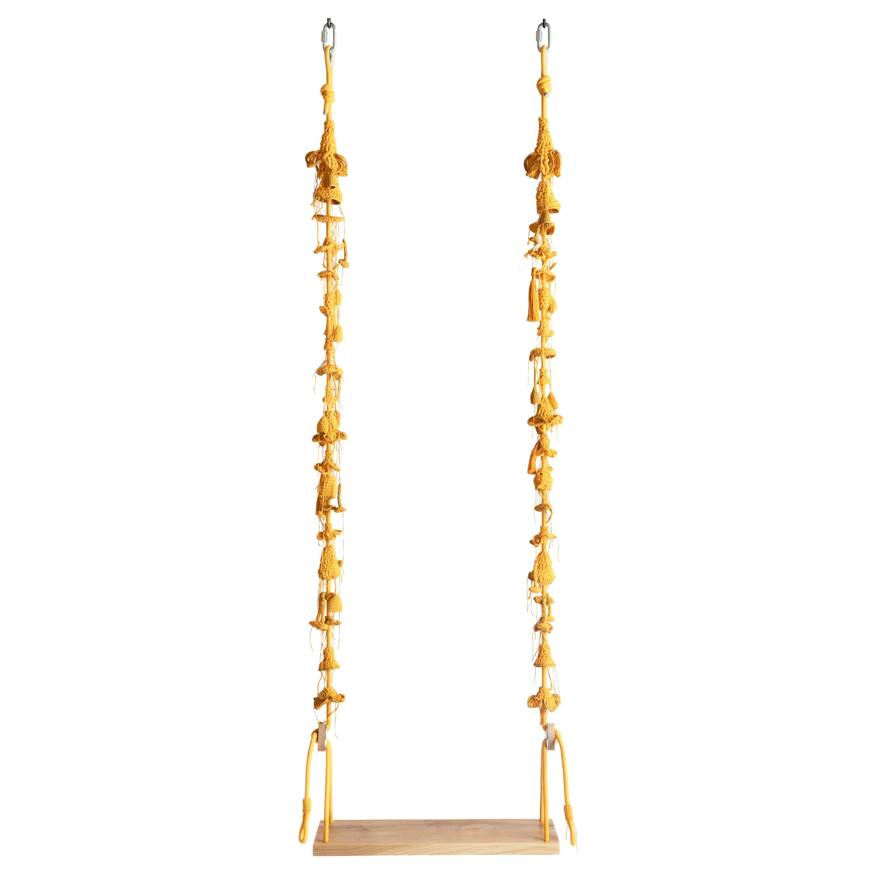 Gold Textile Swing Handmade Crochet in Cotton and Polyester with Oak Wood Seat