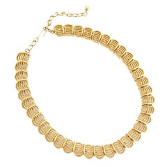Gold Textured Link Choker Necklace, 1960s