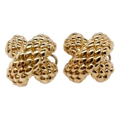 Gold Textured X Earrings