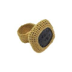 Gold Thread 18 Karat Black Natural Lava Crochet Statement Cocktail Classic Ring