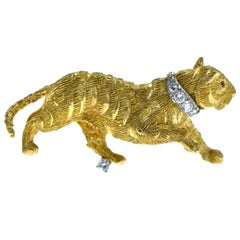 Gold Tiger, Diamond and Ruby Brooch