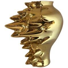 """Gold Titanium Over White Porcelain """"Fast"""" Vase by Cedric Ragot for Rosenthal"""