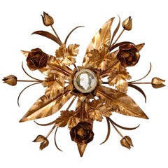 Gold Tole Floral Wall Light, 1970s, Italy