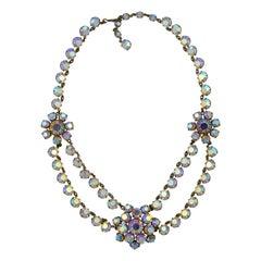 Gold Tone Aurora Borealis Swag Necklace circa 1950s