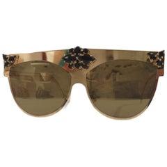 Gold tone black swarovski stones sunglasses NWOT