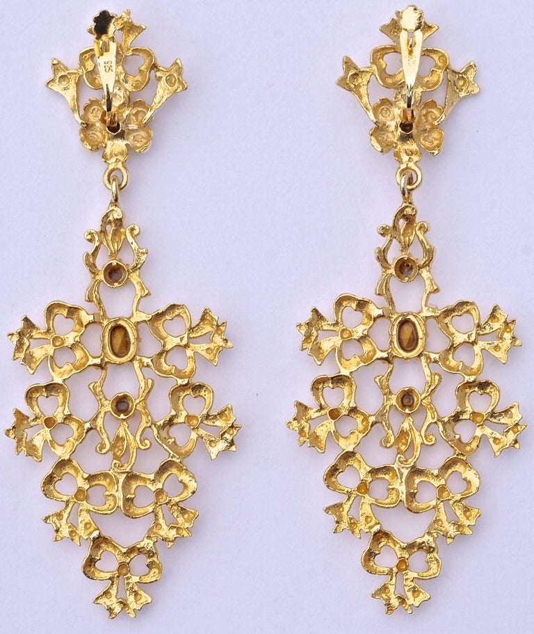 a91ef4bac1252 Gold Tone Clear Rhinestones Flower Bows Chandelier Vintage Statement  Earrings