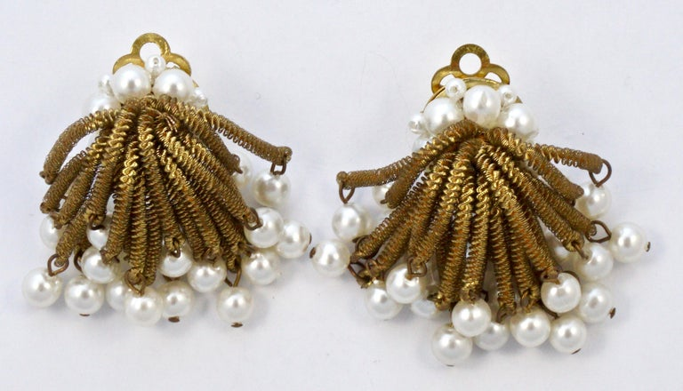 Gold Tone Clip On Chandelier Earrings with Golden Strands and Faux Pearls 1960s For Sale 2