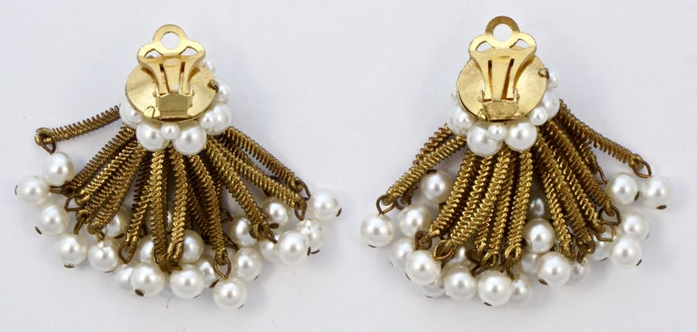 Gold Tone Clip On Chandelier Earrings with Golden Strands and Faux Pearls 1960s For Sale 3