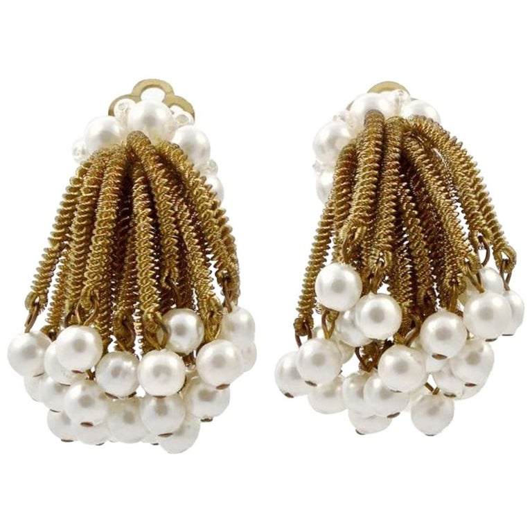Gold Tone Clip On Chandelier Earrings with Golden Strands and Faux Pearls 1960s For Sale