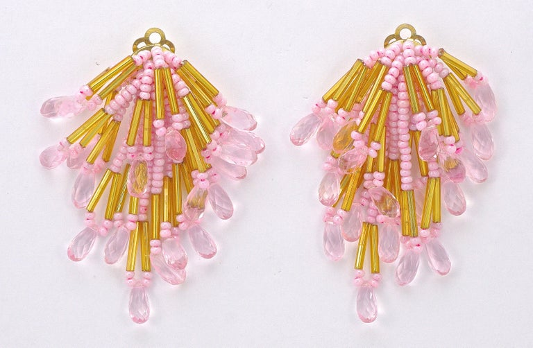 Gold Tone Clip On Chandelier Statement Earrings Gold and Pink Beads 1960s For Sale 2