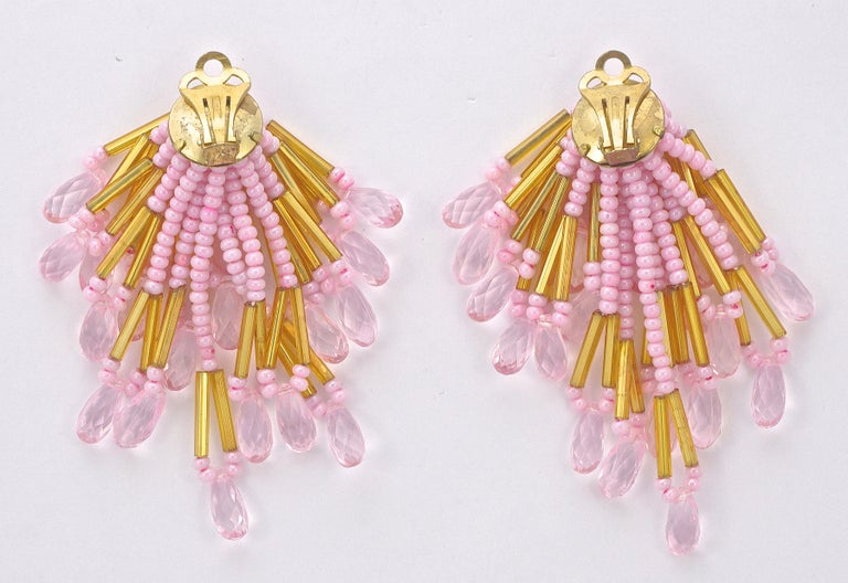Gold Tone Clip On Chandelier Statement Earrings Gold and Pink Beads 1960s For Sale 3