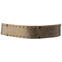 Gold tone leather laces swarovski belt