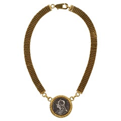 Gold Tone Mesh Link Chain Necklace with Jean-Paul Marat Silver Tone Pendant