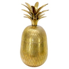 Gold Tone Solid Brass Pineapple Shape Jar with Lid