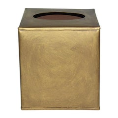 Gold Toned Metal Tissue Box Cover