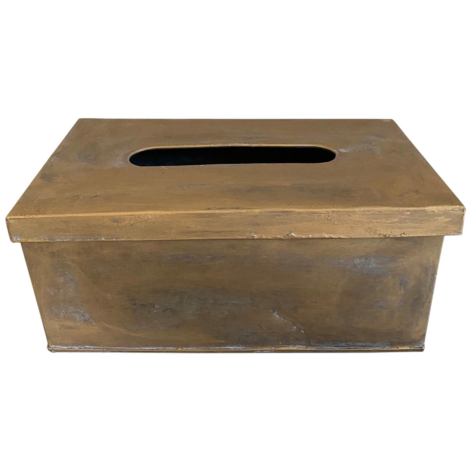 Gold Toned Metal Tissue Box