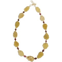 Gold Tourmaline Opal Necklace