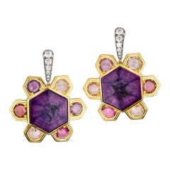 AnaKatarina Gold, Trapiche Ruby, Sapphire and Diamond Earrings