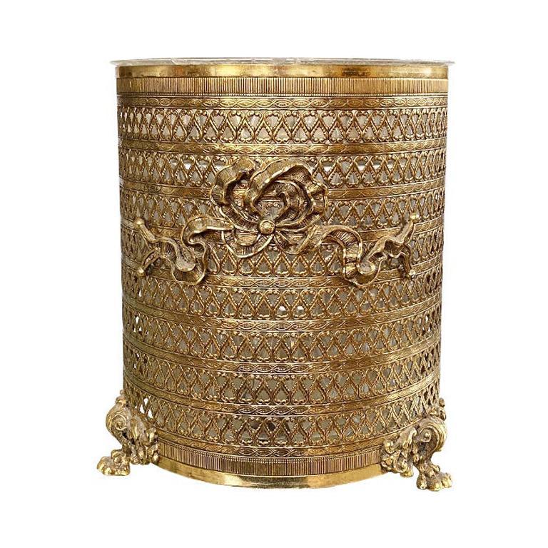 Gold Trompe L'Oeil Ribbon Trash Bin or Wastebasket
