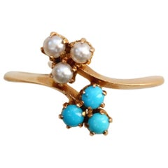 Gold Turquoise and Pearl Art Nouveau Ring