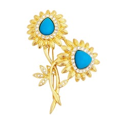 Gold & Turquoise Floral Figural Brooch With Crystal Accents by Nolan Miller