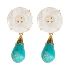 Gold Turquoise Mother of Pearl Earrings