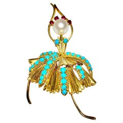 Gold, Turquoise, Ruby & Pearl Ballerina Brooch Made for Spritzer & Fuhrmann