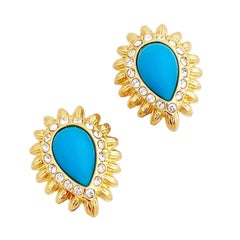 Gold & Turquoise Teardrop Sunburst Earrings With Crystal Accents By Nolan Miller