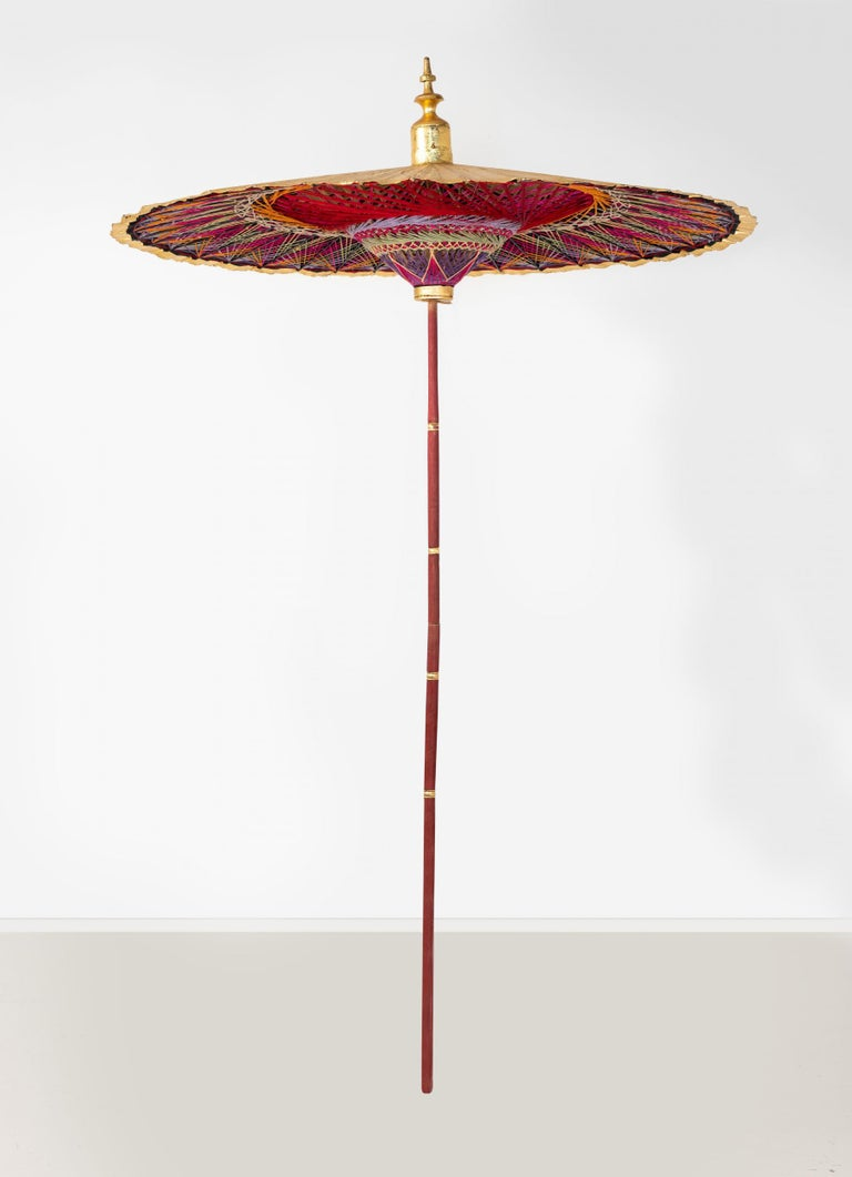 Unknown Gold Umbrella with Rainbow Accent For Sale