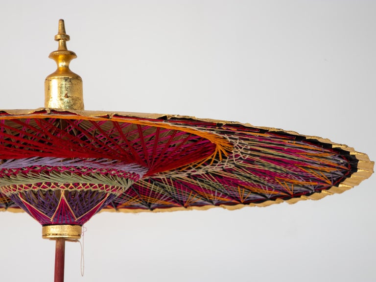 Wood Gold Umbrella with Rainbow Accent For Sale