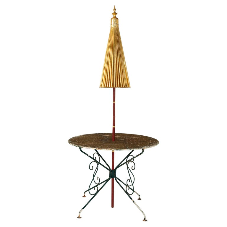 Gold Umbrella with Rainbow Accent For Sale