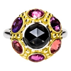 "AnaKatarina Gold, Unheated Sapphire, Black Diamond One-of-a-kind ""Twilight"" Ring"