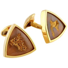 Gold Valley Drusy '22.7 Carat' Cufflinks in Yellow Gold
