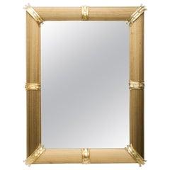 Gold Venetian Rigatello Mirror Blown Murano Glass with Gold Inclusions Modern