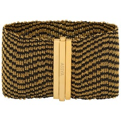 Gold Vermeil and Black Silk Woven Cuff Bracelet