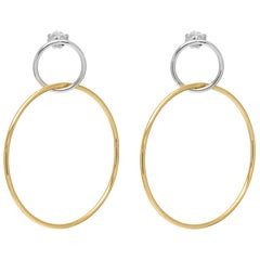 Gold Vermeil and Silver Hotcake Hoop Earrings