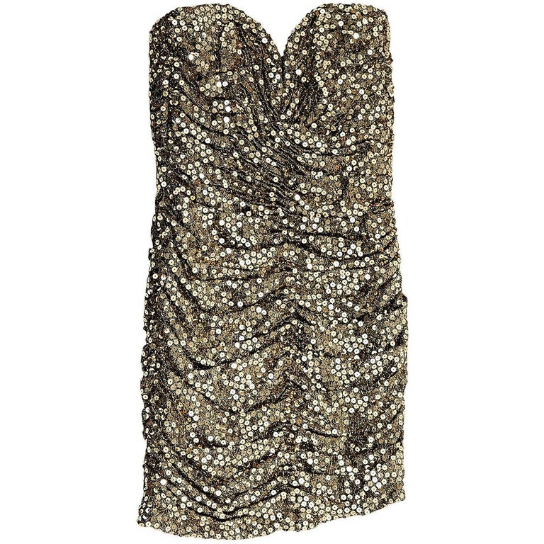 Gold Vicky Tiel Sequin Strapless Mini Dress