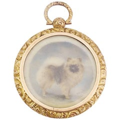 Gold Victorian Painted Pomeranian Dog Miniature Locket Pendant Signed T. Fall