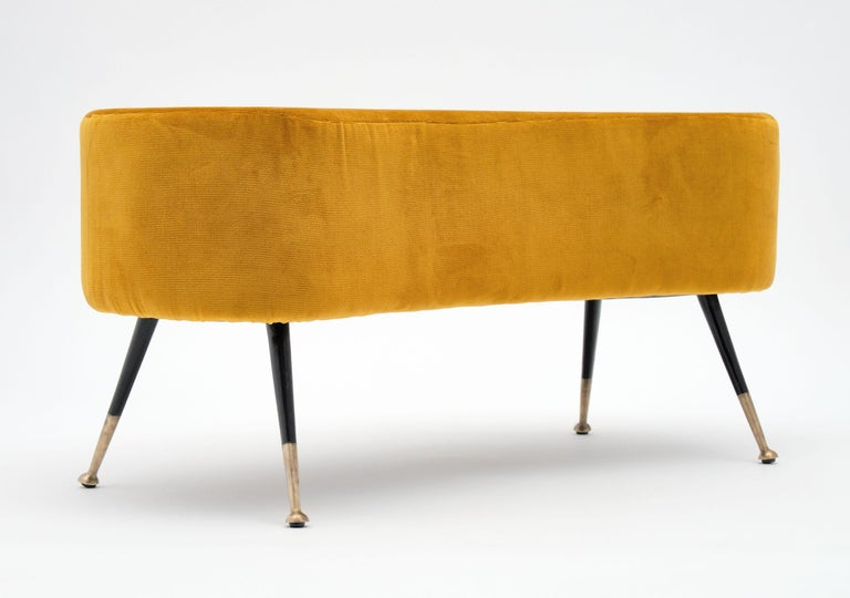 Mid-Century Modern Gold Vintage Benches in the Manner of Carlo di Carli For Sale