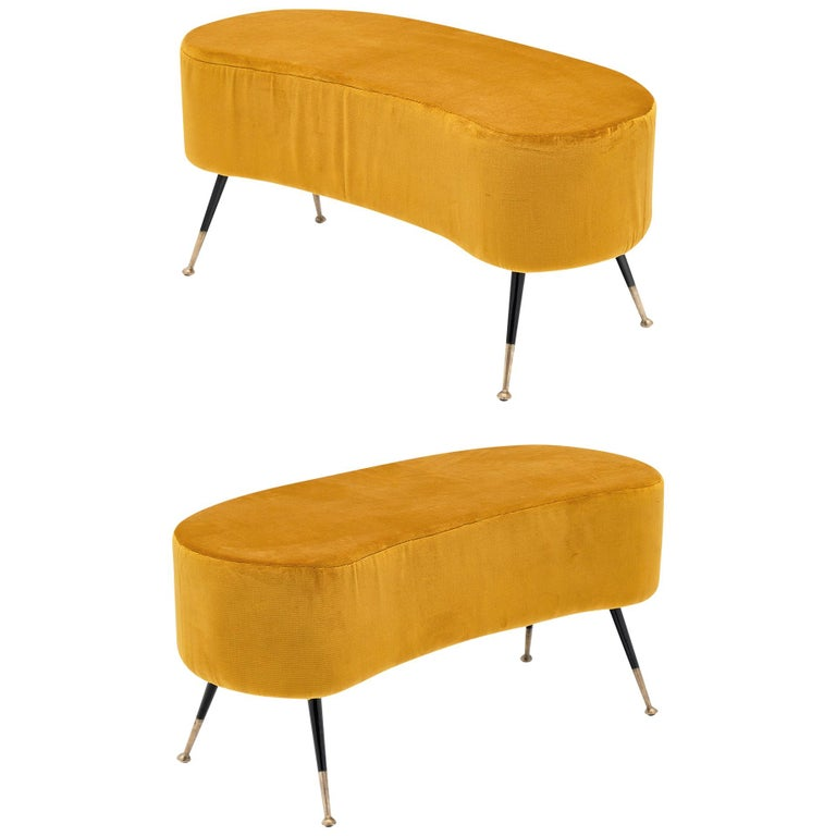Gold Vintage Benches in the Manner of Carlo di Carli For Sale