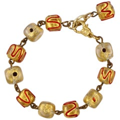 Gold Wash Glass Cube Bead Bracelet with Red Wave and Dot Decoration circa 1930s